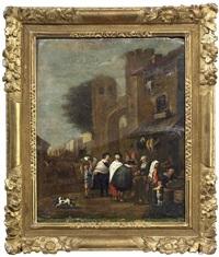 italienischer markt vor einem stadttor by jan miel