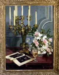 still-life of pink carnations and candelabra by dewitt mcclellan lockman