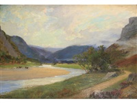 a gleam of sunlight amidst scottish hills by sir alfred east