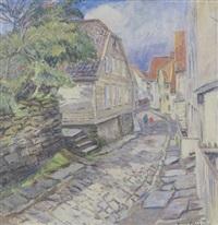 brostensbelagt gade med byhuse, stavanger by emil abrahamsen