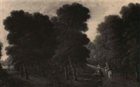 wayfarers in a wooded landscape by george philip reinagle