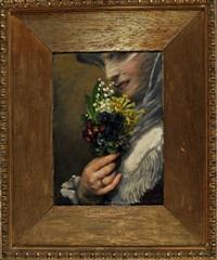 das vielliebchen aus münchen - junge frau mit einem kleinen frühlingsblumenstrauß by anton robert leinweber