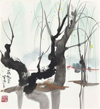 willow by the riverbank by wu guanzhong