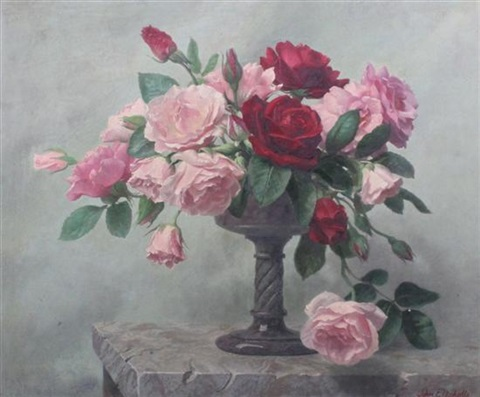 still life of roses in a vase by john e nicholls