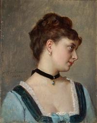 porträt einer jungen frau in blauem kleid by auguste toulmouche