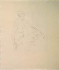 study of a female nude seated; figure studies (5 works) by robert sargent austin