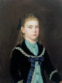portrait eines jungen mädchens mit blauem kleid und weißer spitze by leonhard rausch