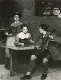 musizierende in der stube by heinrich a. weber