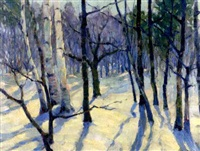landscapes with birches (2 works) by john howard allen