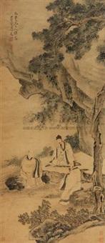 柏荫讲经图 (landscape and character) by jiang lian