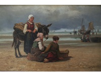 fisherfolk on a beach by edith hume