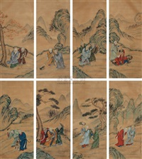 十八罗汉图 (eighteen arhats) (set of 8) by da shou
