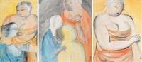 人物 (portrait) (3 works) by pang yongjie