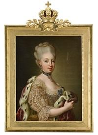 porträtt av drottning sofia magdalena klädd i en spetsprydd rosa klänning, bärandes en hermelinbrämad mantel i purpur - midjebild (after lorens pasch the younger) by ulrika (ulla frederika) pasch