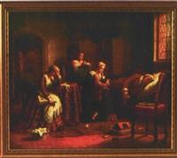 der schlafende könig ludwig xvi umgeben von seiner familie in gefangenschaft im tempel 1793 by edward matthew ward