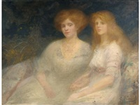 portrait of a mother and daughter by georges picard