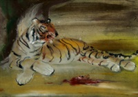 liegender tiger; japanese wrestlers (2 works) by josef hegenbarth