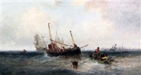 fishing boats off the coast by william edward webb