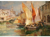 fishing boats, venice by angelo brombo