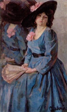 ung pige i blå kjole og med en vife i hånden by sergei vladimirovich doroshenko
