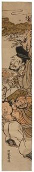 tayu et saizo devant un pin (hashira-e)(+ la courtisane sugawara de la maison tsuruya, various sizes; 2 works) by isoda koryusai