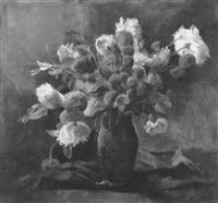 bunter blumenstrauß in einer orangeroten vase by alexander posch