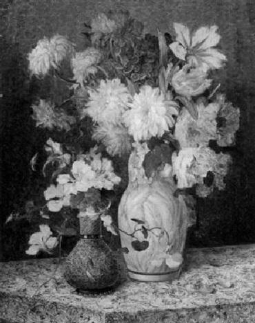 blumenstilleben mit dahlien rosen und kapuzinerkresse by j voisard
