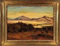 drei orientalen blicken, verborgen hinter büschen, in eine weite wüstenlandschaft by august löffler