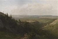 eifellandschaft bei gerolstein. im vordergrund zwei beerensammler by wilhelm julius august nabert