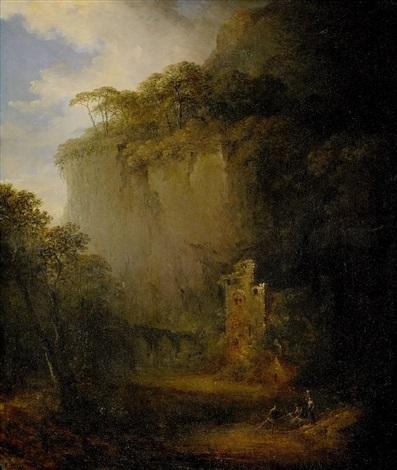 skymningslandskap med ruiner och fiskare som drager upp nät by carl johan fahlcrantz