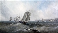 fishing boats and other shipping off the coast by william edward webb