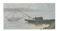fischer auf der donau vor linzer(?) silhouette by josef gassler