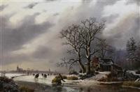 eisvergnügen. zahlreiche personen auf einem zugefrorenen fluß in weiter holländischer landschaft by louis smits