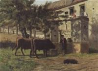 cattle and herder at a well by bernard de haas