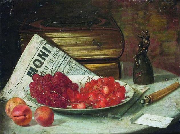 după petrecere (natură statică cu fructe și vin franțuzesc) by theodor aman