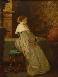 im salon. dame sitzt gedankenverloren an einem tisch by august wilhelm sohn