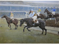 the grand national: fulke walwyn riding to victory on reynoldstown (2 works) by charles walter simpson