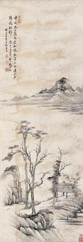 秋渚落木图 by dai xi