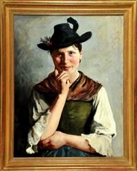 halbportrait einer jungen frau im dirndl und mit trachtenhut by emil rau