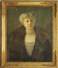 ritratto di gentildonna con collana di perle by alessandro milesi