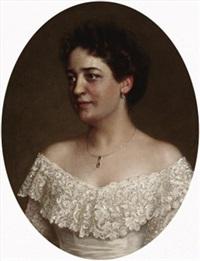 porträt einer dame in weißem spitzenkleid by feodor encke