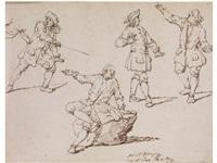 studienblatt mit einem kämpfenden und einem auf einen stein sitzenden mann sowie zwei herren im gespräch by johann elias ridinger