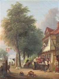 village scenes with figure in the stocks and figures outside a tavern (pair) by john anthony puller