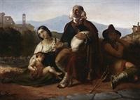 musikantenfamilie in der camagna romana. im hintergrund die castelli romani(?) by julius storms