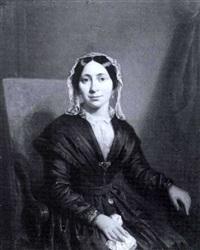 portrat einer eleganten dame, en face in dreiviertelfigur by moritz calisch