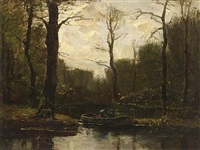 a forest pond with a figure in boat by frits mondriaan