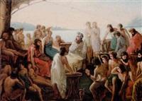 homer omgivet af en lyttende skare ombord på et skib by auguste barthelemy glaize