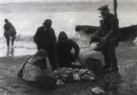 fischerfamilie am strand by kurt hassenkamp