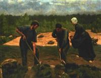 bauern bei der feldaufbereitung nach dem roden by hillegonda femina aleida loder