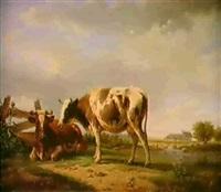 in weiter bewaldeter flublandschaft rasten vorne      links vor einem plankenzaun auf einem rasenstuck 2 kuhe by leopold de cauwer